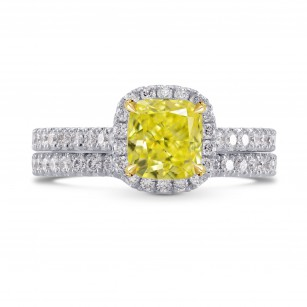 Fancy Intense Yellow Halo Ring with Matching Wedding Band, SKU 268164 (1.71Ct TW)