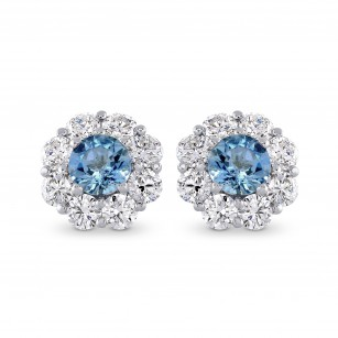 Aquamarine and Diamond Halo Earrings, SKU 270384 (1.33Ct TW)