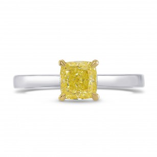 Fancy Yellow Cushion Diamond Solitaire Ring, SKU 270608 (1.08Ct TW)