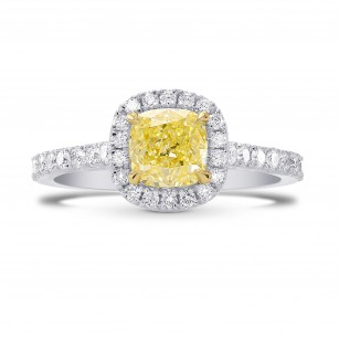 Fancy Yellow Cushion Diamond Halo Ring, SKU 270609 (1.43Ct TW)