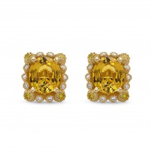 Yellow Sapphire & Diamond Halo Earrings, SKU 277763 (1.66Ct TW)