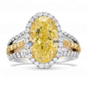 Fancy Light Yellow Oval Diamond Halo Ring, 商品编号 278175 (5.72克拉)