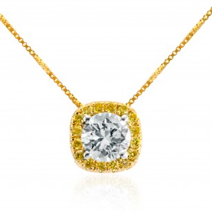 White and Fancy Intense Yellow Diamond Pendant, SKU 27856R (0.40Ct TW)
