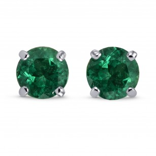 Vivid Green Round Emerald Stud Earrings, SKU 27875R (0.80Ct TW)