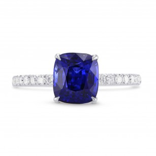 Royal Blue Sapphire Cushion & Diamond Ring, SKU 278769 (2.93Ct TW)