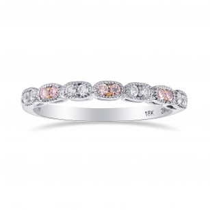 Pink & White Diamond Band Ring with Milgrain, SKU 27929R (0.18Ct TW)