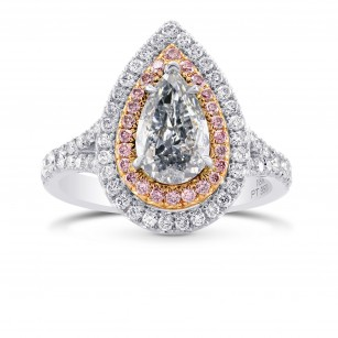 Extraordinary Fancy Gray Blue Pear & Pink Diamond Halo Ring, SKU 280359 (2.06Ct TW)