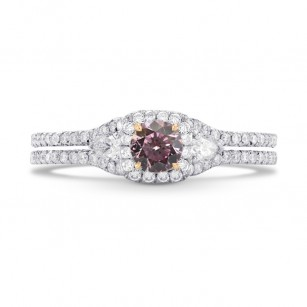 Fancy Purplish Pink & Colorless Pear and Pave Diamond Ring, SKU 281430 (0.67Ct TW)