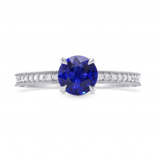Round Sapphire & Diamond Ring with Milgrain, SKU 282360 (1.26Ct TW)