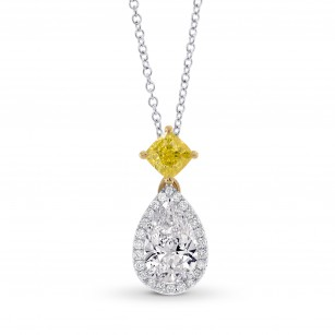 'D' Color Pear & Vivid Yellow Cushion Dhttp://www.leibish.com/backoffice/jewelry/edit/27567#desciamond Pendant, SKU 283088 (1.53Ct TW)