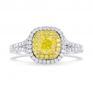 Fancy Intense Yellow Cushion Diamond Halo Ring, 商品編號 283457 (1.33克拉)
