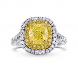 Fancy Light Yellow Cushion Diamond Halo Ring, SKU 283458 (2.93Ct TW)