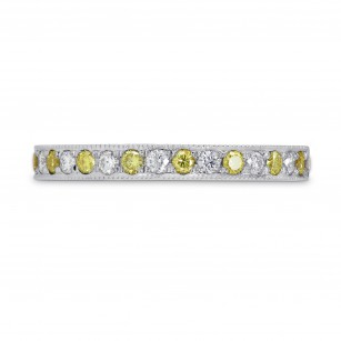 Fancy Intense Yellow and White Diamond Milgrain Ring, SKU 284127 (0.39Ct TW)