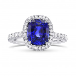 Vivid Blue Sapphire & Diamond Halo Engagement Ring, SKU 284779 (3.79Ct TW)