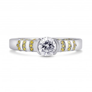 Colorless Round and Fancy Intense Yellow Half-Bezel Diamond Ring, SKU 2857R (0.65Ct TW)