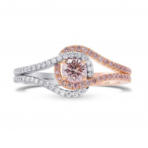 Argyle Fancy Light Orangy Pink Cushion Diamond Ring, 商品编号 287230 (0.70克拉)