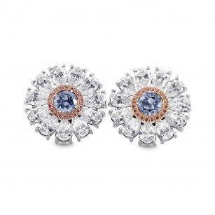 Fancy Intense Blue Diamond Flower Earrings, SKU 289212 (8.29Ct TW)