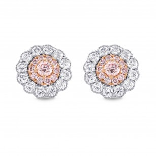 Fancy Pink Diamond Floral Earrings, SKU 289596 (0.61Ct TW)