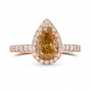 Fancy Brown Yellow Pear Diamond Ring, SKU 291364 (1.47Ct TW)