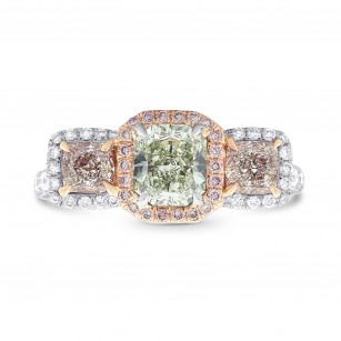 Extraordinary Green and Pink Radiant Diamond 3 Stone Ring, 商品编号 294664 (2.20克拉)