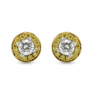 Round White and Fancy Vivid Yellow Diamond Earrings, SKU 29572 (0.39Ct TW)