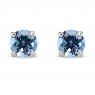 Fine Aquamarine Round Stud Earrings, SKU 299241 (1.55Ct TW)