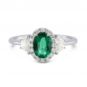 Oval Green Emerald & Trapezoid Diamond Engagement Ring, SKU 3075R (0.90Ct TW)