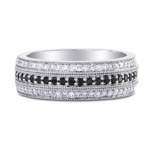 Wide Black Diamond Milgrain Band Ring, SKU 3440R (0.50Ct TW)