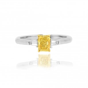 Fancy Intense Yellow Radiant and Taper Diamond Ring, SKU 36306 (0.80Ct TW)