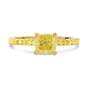 Fancy Intense Yellow Cushion Side Stones Ring, SKU 40046S