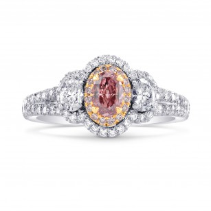 3 Stone Halo Ring Setting with Ovals and Pink Diamonds, SKU 40263S