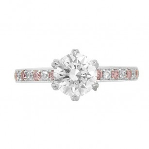 Pink & Colorless Diamond Solitaire Ring Setting, SKU 40279S