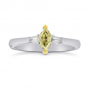Fancy Yellow Marquise and Taper Diamond Ring set in 18K gold, SKU 40281 (0.43Ct TW)