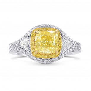 Double Halo Ring Setting with Yellow Diamonds & Triangles, SKU 40364S