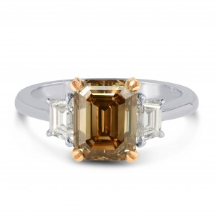 Fancy Orange Brown Emerald Cut Diamond Engagement Ring, SKU 41634 (3.75Ct TW)