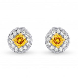 Fancy Dark Brownish Orangy Yellow & White Pave Halo Diamond Earrings,18K gold., SKU 44959 (0.35Ct TW)