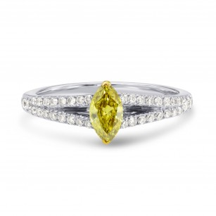 Fancy Deep Brownish Yellow Marquise Diamond Engagement Ring, SKU 45114 (0.54Ct TW)