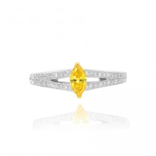 Fancy Vivid Orangy Yellow Marquise Diamond Side Stone Ring, SKU 45905 (0.53Ct TW)