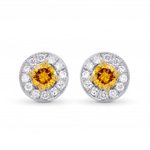 Fancy Dark Brownish Orange & White Pave Halo Diamond Earrings set in 18K Yellow and White Gold, SKU 47279 (0.33Ct TW)