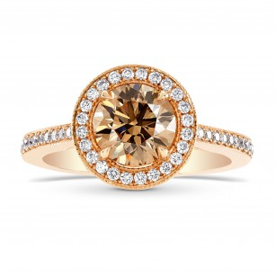 Fancy Brown Round Diamond Halo 18k Engagement Ring, SKU 49128 (1.69Ct TW)