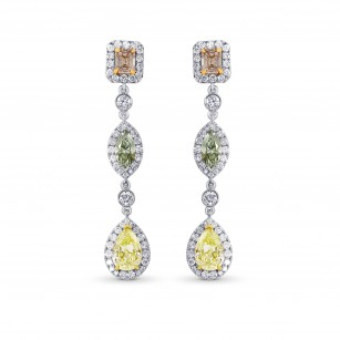 Pink, Green and Yellow Diamond drop earrings., SKU 49977 (4.92Ct TW)