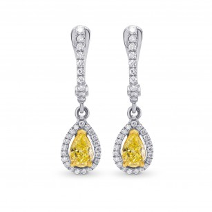 Fancy Intense Yellow Pear Shape Halo Drop Diamonds Earrings set in 18K gold, SKU 51040 (1.03Ct TW)