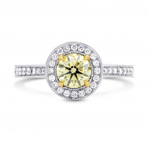 Fancy Yellow Round Diamond Halo Engagement Ring, SKU 53862 (1.13Ct TW)