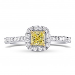 Fancy Intense Yellow Radiant Diamond Halo Ring, 商品编号 59719 (0.69克拉)