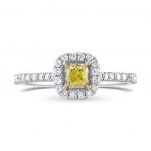 Fancy Yellow Radiant Diamond Halo Ring, SKU 59722 (0.64Ct TW)