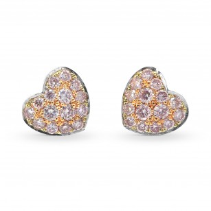 Fancy Light Pink Diamond Pave Heart Earrings set in 18K Rose Gold weighing 0.18ct, SKU 63779 (0.18Ct TW)