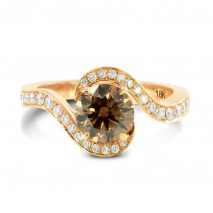Fancy Dark Orangy Brown Round Cross- Over Brilliant Diamond Ring GIA 18K Gold, SKU 65422 (1.52Ct TW)