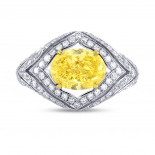 Fancy Intense Yellow Oval Diamond Ring, SKU 68838 (3.23Ct TW)