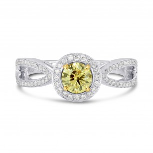 Fancy Intense Yellow Round Brilliant Diamond Engagement Ring, SKU 71438 (0.90Ct TW)