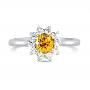 Fancy Vivid Orange Yellow Round Brilliant Diamond Ring, SKU 72412 (0.89Ct TW)